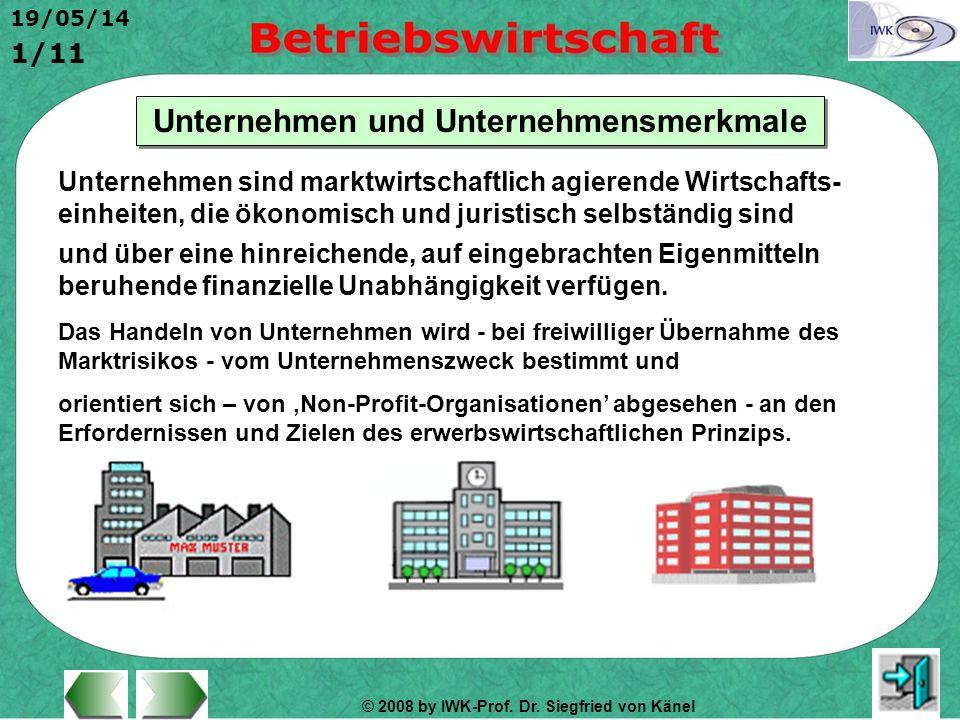 © 2008 by IWK-Prof. Dr. Siegfried von Känel 19/05/14 1/11 Unternehmen und Unternehmensmerkmale Unternehmen sind marktwirtschaftlich agierende Wirtscha
