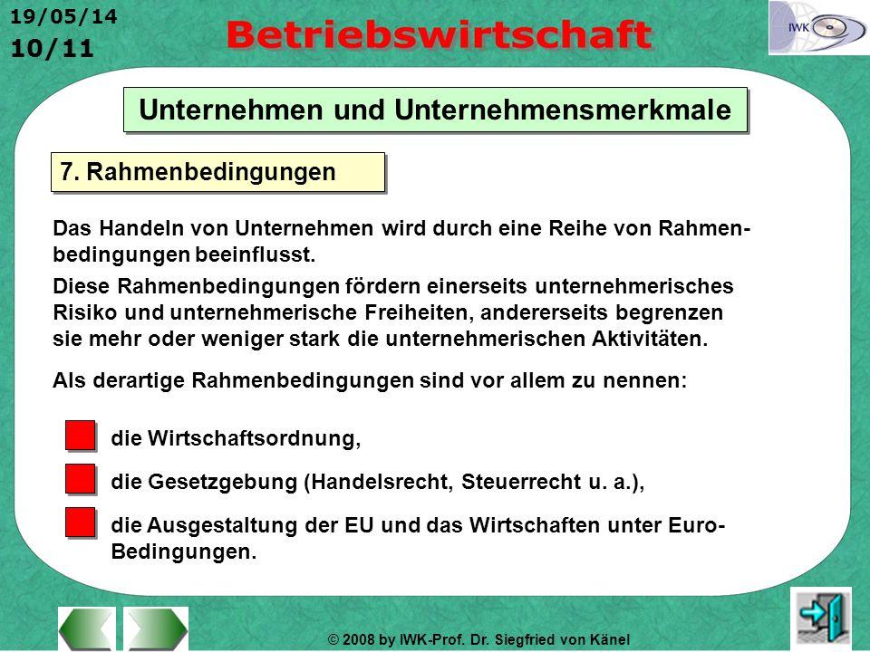 © 2008 by IWK-Prof. Dr. Siegfried von Känel 19/05/14 10/11 Unternehmen und Unternehmensmerkmale Das Handeln von Unternehmen wird durch eine Reihe von