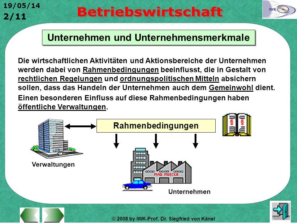 © 2008 by IWK-Prof. Dr. Siegfried von Känel 19/05/14 2/11 Unternehmen und Unternehmensmerkmale Die wirtschaftlichen Aktivitäten und Aktionsbereiche de