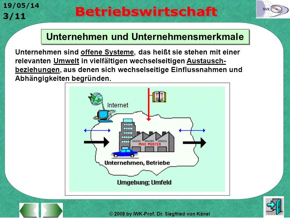 © 2008 by IWK-Prof. Dr. Siegfried von Känel 19/05/14 3/11 Unternehmen und Unternehmensmerkmale Unternehmen sind offene Systeme, das heißt sie stehen m
