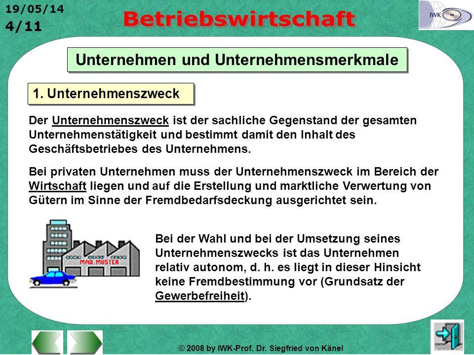 © 2008 by IWK-Prof. Dr. Siegfried von Känel 19/05/14 4/11 Unternehmen und Unternehmensmerkmale Der Unternehmenszweck ist der sachliche Gegenstand der