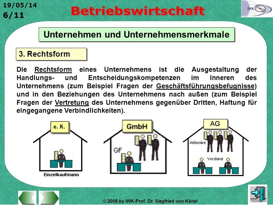 © 2008 by IWK-Prof. Dr. Siegfried von Känel 19/05/14 6/11 Unternehmen und Unternehmensmerkmale Die Rechtsform eines Unternehmens ist die Ausgestaltung