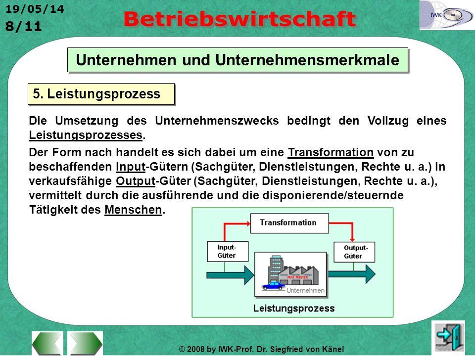 © 2008 by IWK-Prof. Dr. Siegfried von Känel 19/05/14 8/11 Unternehmen und Unternehmensmerkmale Die Umsetzung des Unternehmenszwecks bedingt den Vollzu