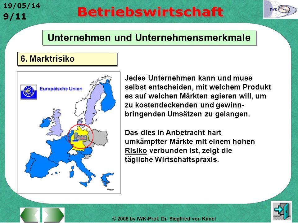 © 2008 by IWK-Prof. Dr. Siegfried von Känel 19/05/14 9/11 Unternehmen und Unternehmensmerkmale Jedes Unternehmen kann und muss selbst entscheiden, mit