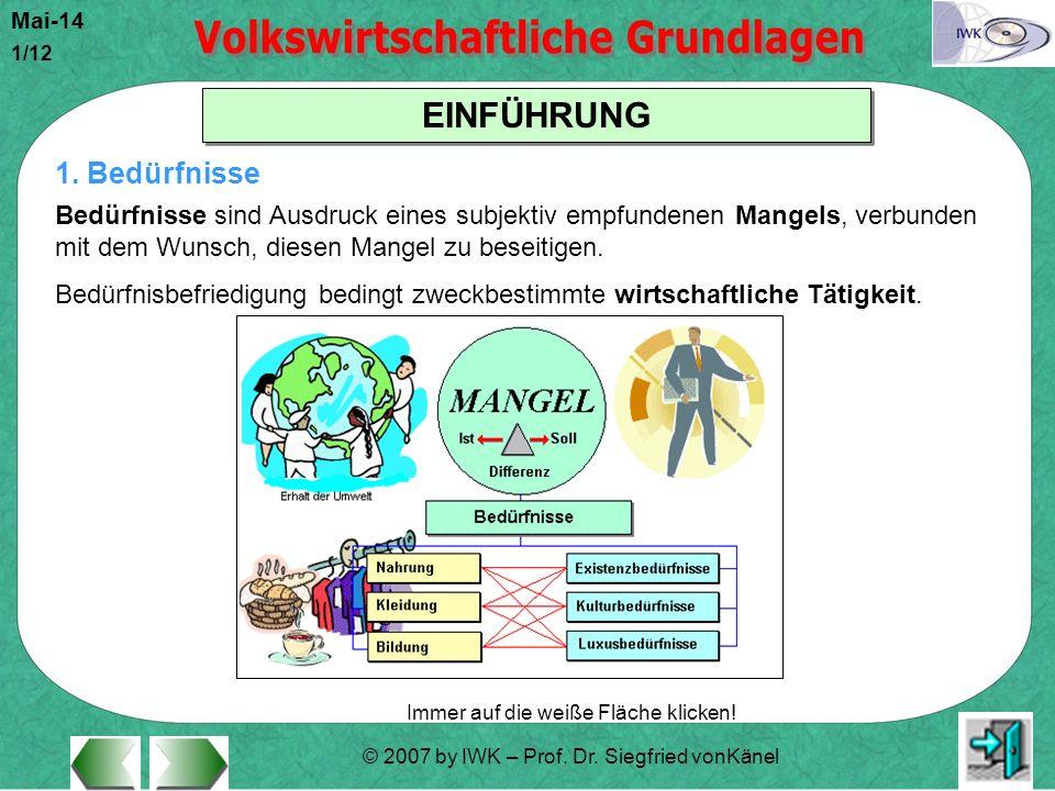 © 2007 by IWK – Prof. Dr. Siegfried vonKänel Mai-14 1/12 EINFÜHRUNG Immer auf die weiße Fläche klicken! 1. Bedürfnisse Bedürfnisse sind Ausdruck eines
