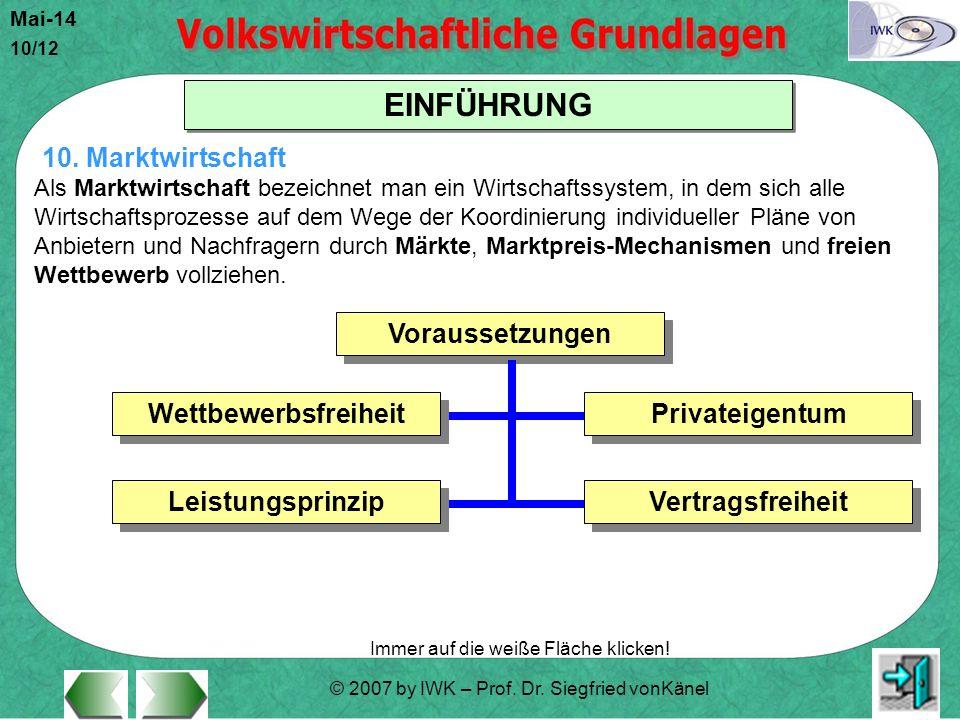 © 2007 by IWK – Prof. Dr. Siegfried vonKänel Mai-14 10/12 EINFÜHRUNG Immer auf die weiße Fläche klicken! Als Marktwirtschaft bezeichnet man ein Wirtsc