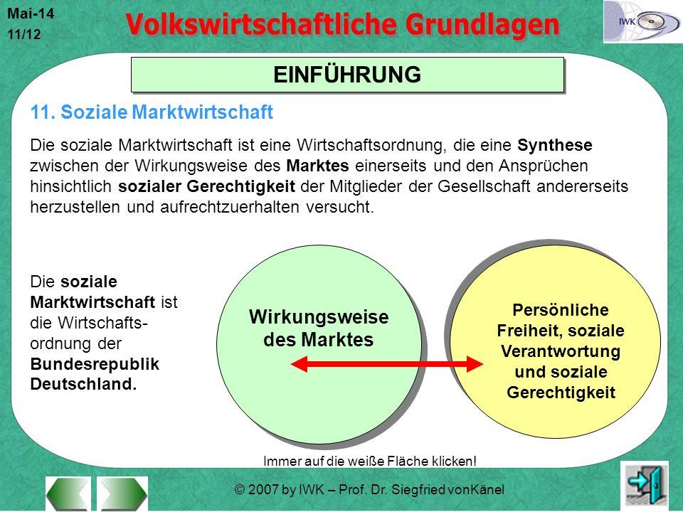 © 2007 by IWK – Prof. Dr. Siegfried vonKänel Mai-14 11/12 EINFÜHRUNG Immer auf die weiße Fläche klicken! Die soziale Marktwirtschaft ist die Wirtschaf