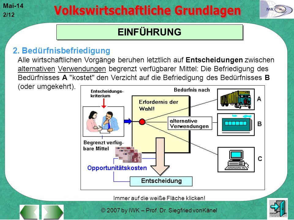 © 2007 by IWK – Prof. Dr. Siegfried vonKänel Mai-14 2/12 EINFÜHRUNG Immer auf die weiße Fläche klicken! 2. Bedürfnisbefriedigung Alle wirtschaftlichen