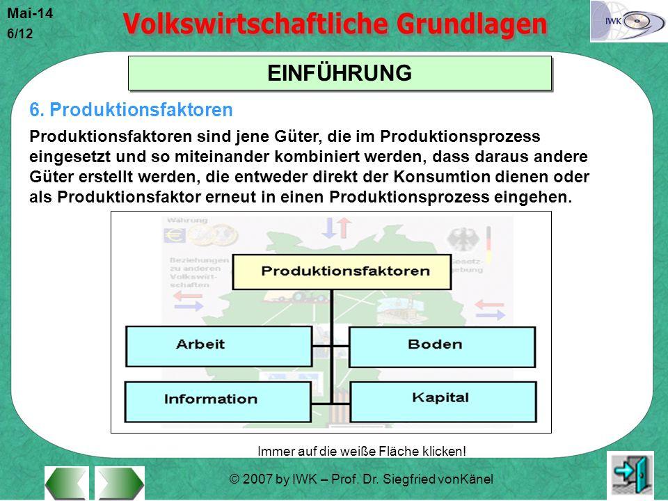 © 2007 by IWK – Prof. Dr. Siegfried vonKänel Mai-14 6/12 EINFÜHRUNG Immer auf die weiße Fläche klicken! 6. Produktionsfaktoren Produktionsfaktoren sin