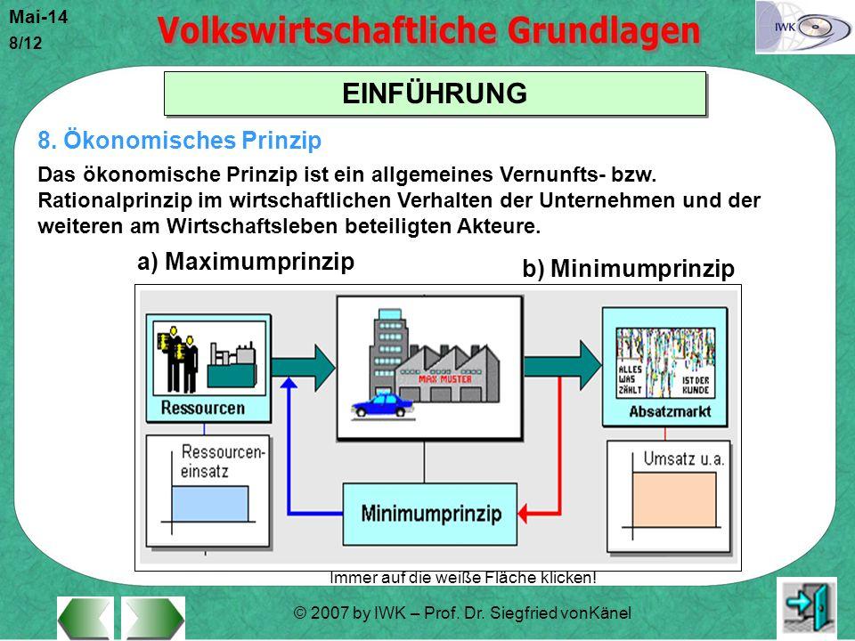 © 2007 by IWK – Prof. Dr. Siegfried vonKänel Mai-14 8/12 EINFÜHRUNG Immer auf die weiße Fläche klicken! 8. Ökonomisches Prinzip Das ökonomische Prinzi