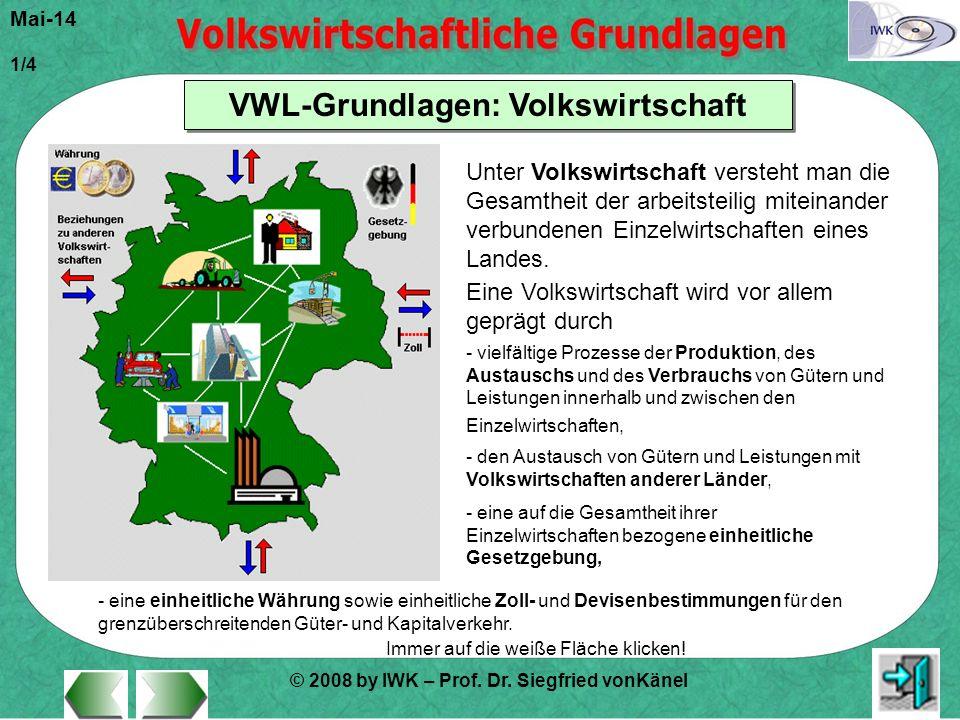 © 2008 by IWK – Prof. Dr. Siegfried vonKänel Mai-14 1/4 VWL-Grundlagen: Volkswirtschaft Immer auf die weiße Fläche klicken! Unter Volkswirtschaft vers