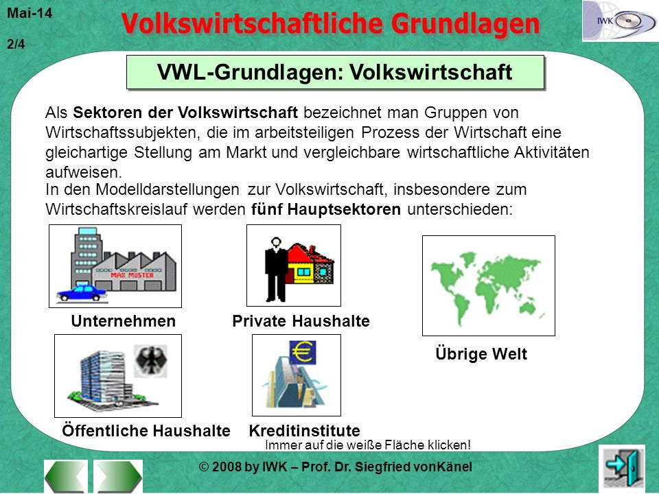 © 2008 by IWK – Prof. Dr. Siegfried vonKänel Mai-14 2/4 VWL-Grundlagen: Volkswirtschaft Immer auf die weiße Fläche klicken! Als Sektoren der Volkswirt