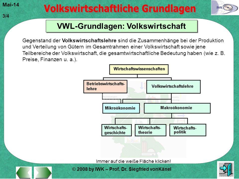 © 2008 by IWK – Prof. Dr. Siegfried vonKänel Mai-14 3/4 VWL-Grundlagen: Volkswirtschaft Immer auf die weiße Fläche klicken! Gegenstand der Volkswirtsc