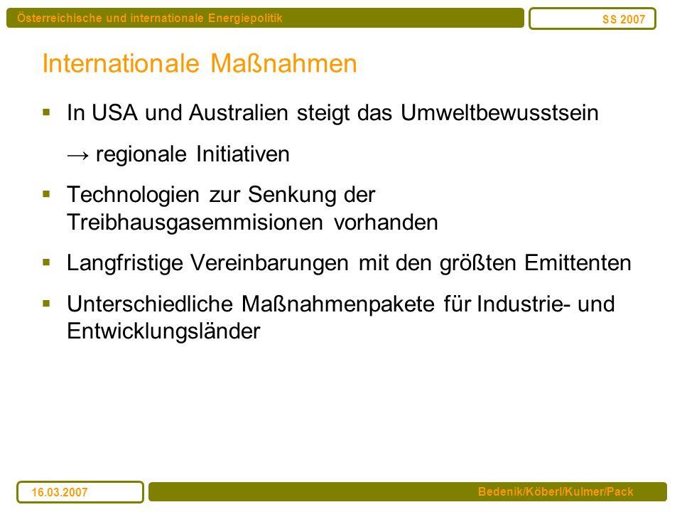 Österreichische und internationale Energiepolitik Bedenik/Köberl/Kulmer/Pack SS 2007 16.03.2007 Internationale Maßnahmen In USA und Australien steigt