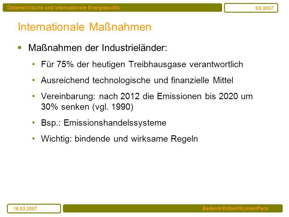 Österreichische und internationale Energiepolitik Bedenik/Köberl/Kulmer/Pack SS 2007 16.03.2007 Internationale Maßnahmen Maßnahmen der Industrieländer