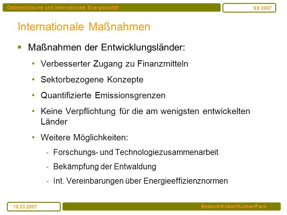 Österreichische und internationale Energiepolitik Bedenik/Köberl/Kulmer/Pack SS 2007 16.03.2007 Internationale Maßnahmen Maßnahmen der Entwicklungslän