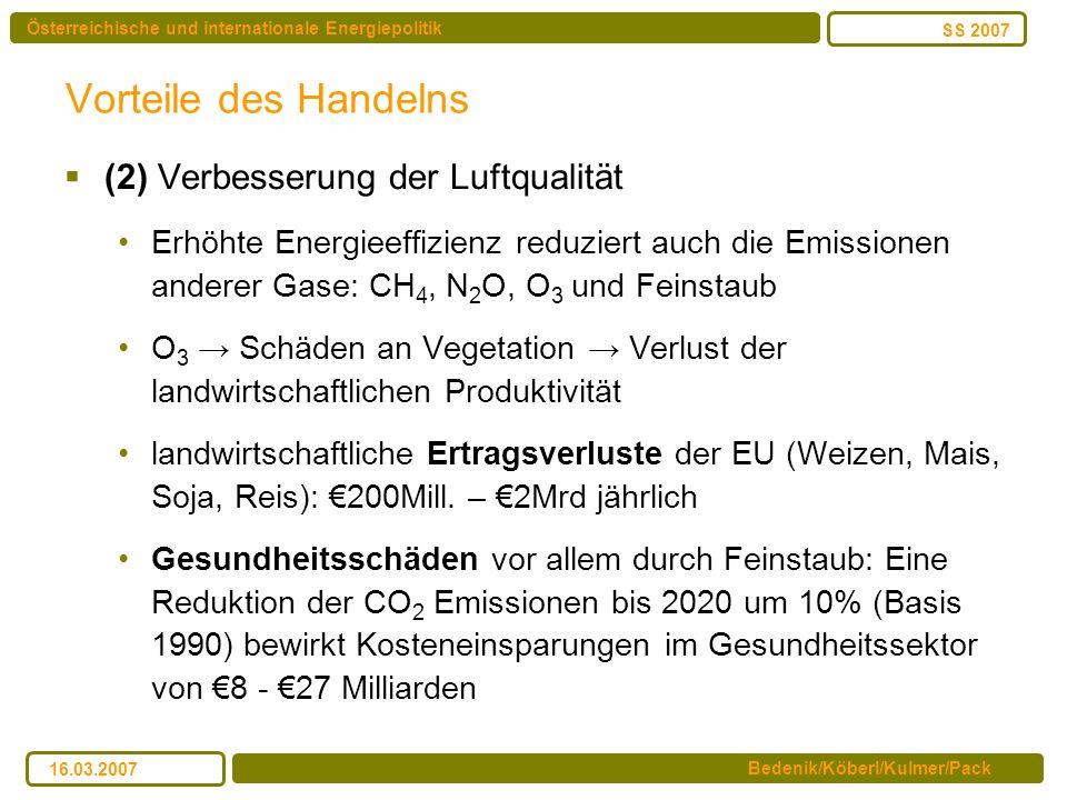 Österreichische und internationale Energiepolitik Bedenik/Köberl/Kulmer/Pack SS 2007 16.03.2007 Vorteile des Handelns (2) Verbesserung der Luftqualitä