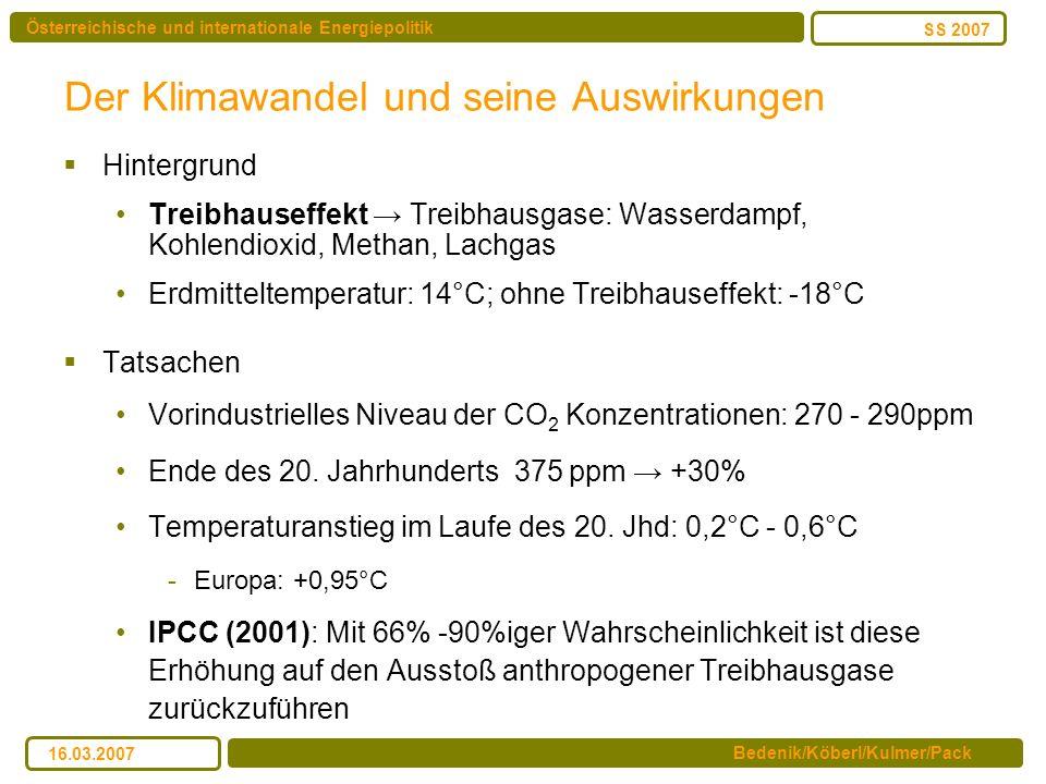 Österreichische und internationale Energiepolitik Bedenik/Köberl/Kulmer/Pack SS 2007 16.03.2007 Der Klimawandel und seine Auswirkungen Hintergrund Tre
