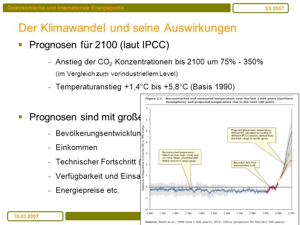 Österreichische und internationale Energiepolitik Bedenik/Köberl/Kulmer/Pack SS 2007 16.03.2007 Der Klimawandel und seine Auswirkungen Prognosen für 2