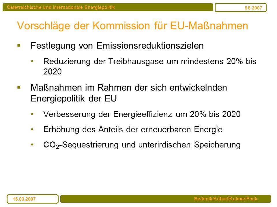 Österreichische und internationale Energiepolitik Bedenik/Köberl/Kulmer/Pack SS 2007 16.03.2007 Vorschläge der Kommission für EU-Maßnahmen Festlegung