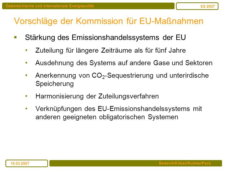 Österreichische und internationale Energiepolitik Bedenik/Köberl/Kulmer/Pack SS 2007 16.03.2007 Vorschläge der Kommission für EU-Maßnahmen Stärkung de