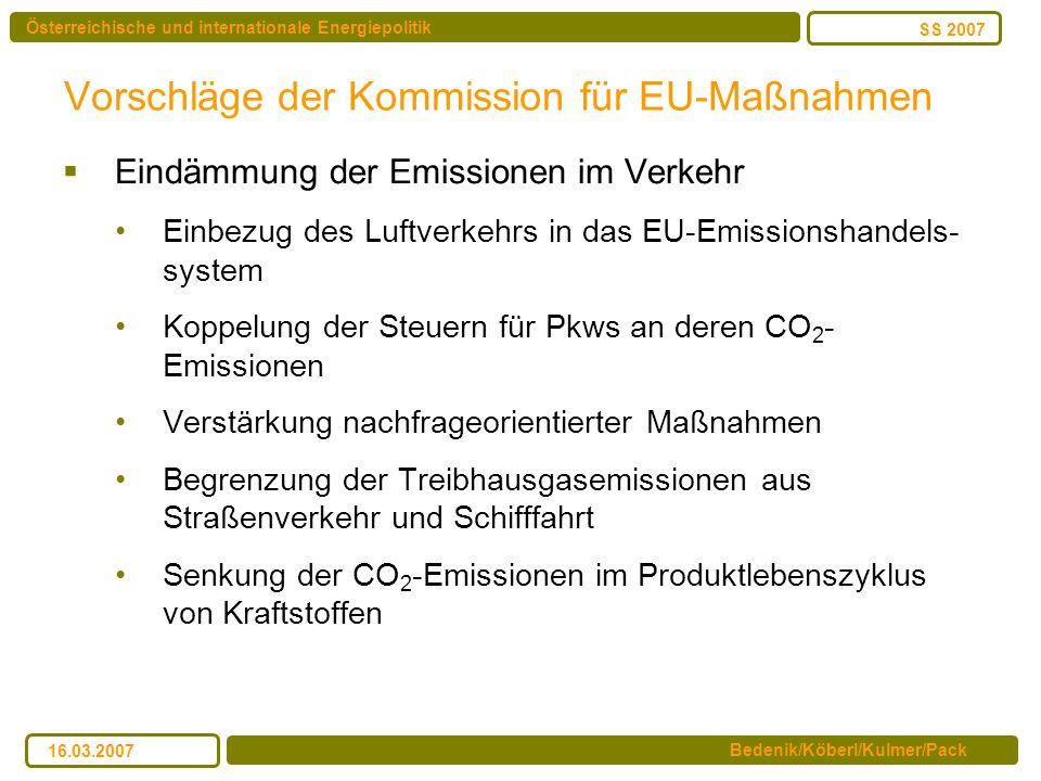 Österreichische und internationale Energiepolitik Bedenik/Köberl/Kulmer/Pack SS 2007 16.03.2007 Vorschläge der Kommission für EU-Maßnahmen Eindämmung