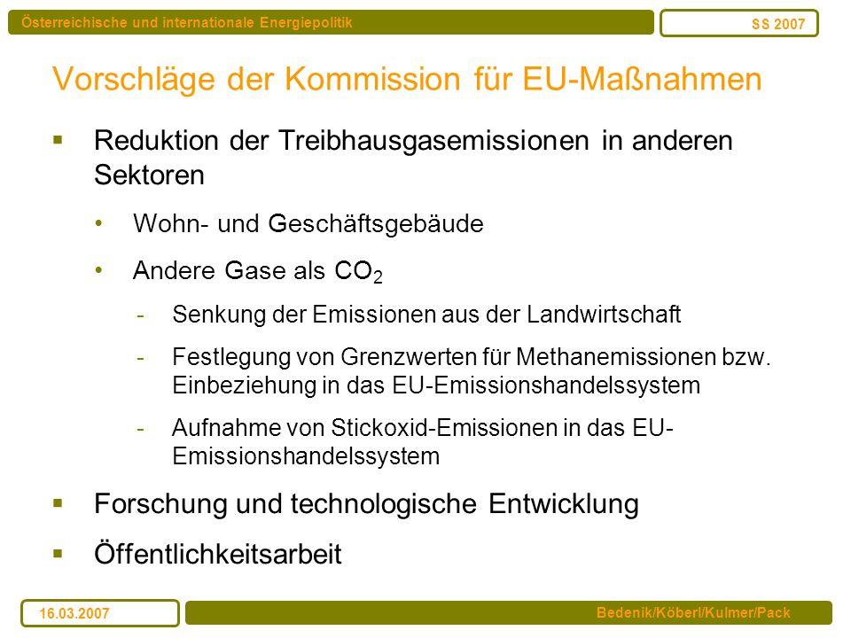 Österreichische und internationale Energiepolitik Bedenik/Köberl/Kulmer/Pack SS 2007 16.03.2007 Vorschläge der Kommission für EU-Maßnahmen Reduktion d