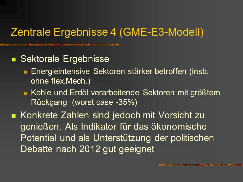Zentrale Ergebnisse 4 (GME-E3-Modell) Sektorale Ergebnisse Energieintensive Sektoren stärker betroffen (insb.