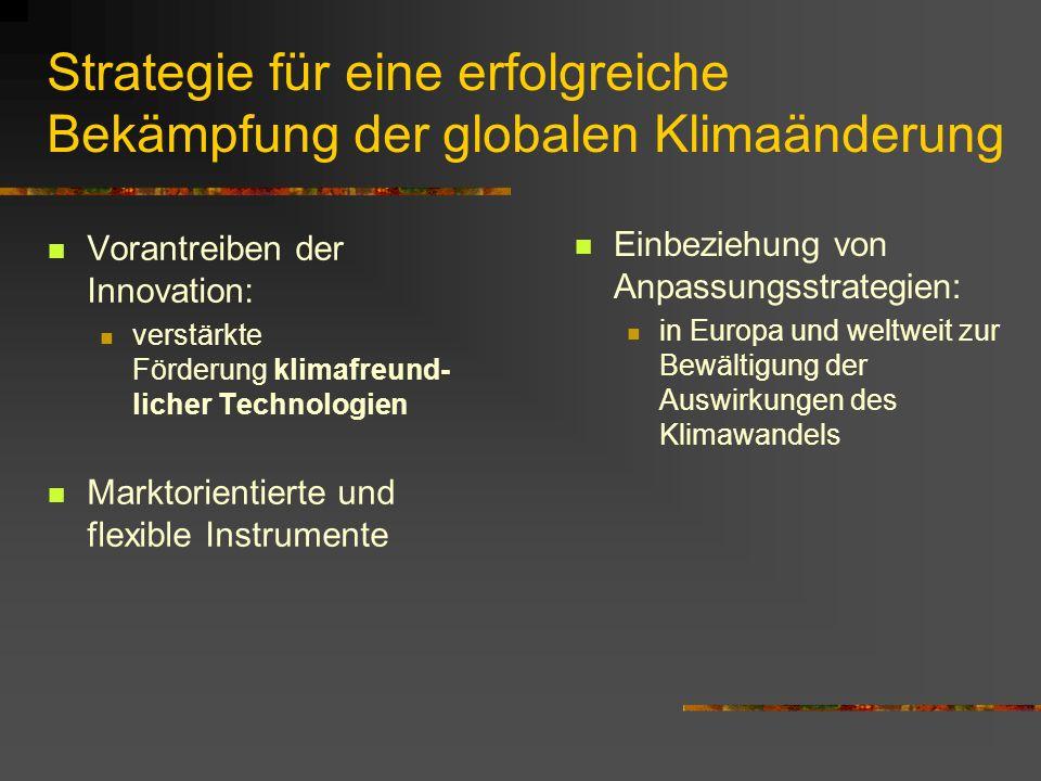 Strategie für eine erfolgreiche Bekämpfung der globalen Klimaänderung Vorantreiben der Innovation: verstärkte Förderung klimafreund- licher Technologien Marktorientierte und flexible Instrumente Einbeziehung von Anpassungsstrategien: in Europa und weltweit zur Bewältigung der Auswirkungen des Klimawandels