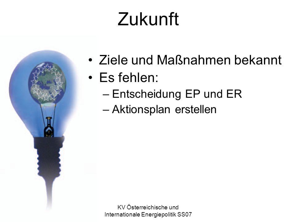 KV Österreichische und Internationale Energiepolitik SS07 Zukunft Ziele und Maßnahmen bekannt Es fehlen: –Entscheidung EP und ER –Aktionsplan erstellen