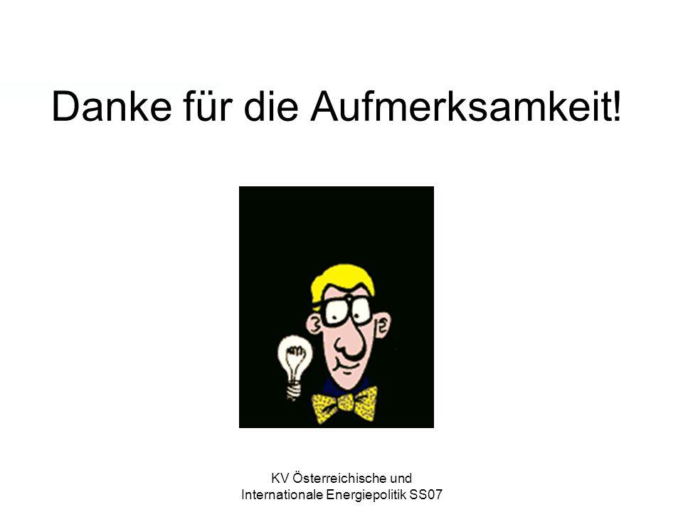 KV Österreichische und Internationale Energiepolitik SS07 Danke für die Aufmerksamkeit!