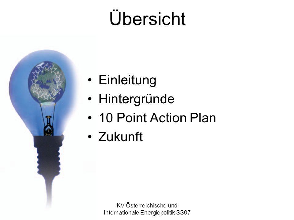 KV Österreichische und Internationale Energiepolitik SS07 Übersicht Einleitung Hintergründe 10 Point Action Plan Zukunft