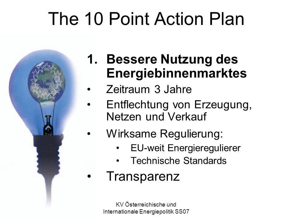 KV Österreichische und Internationale Energiepolitik SS07 The 10 Point Action Plan 1.Bessere Nutzung des Energiebinnenmarktes Zeitraum 3 Jahre Entflechtung von Erzeugung, Netzen und Verkauf Wirksame Regulierung: EU-weit Energieregulierer Technische Standards Transparenz