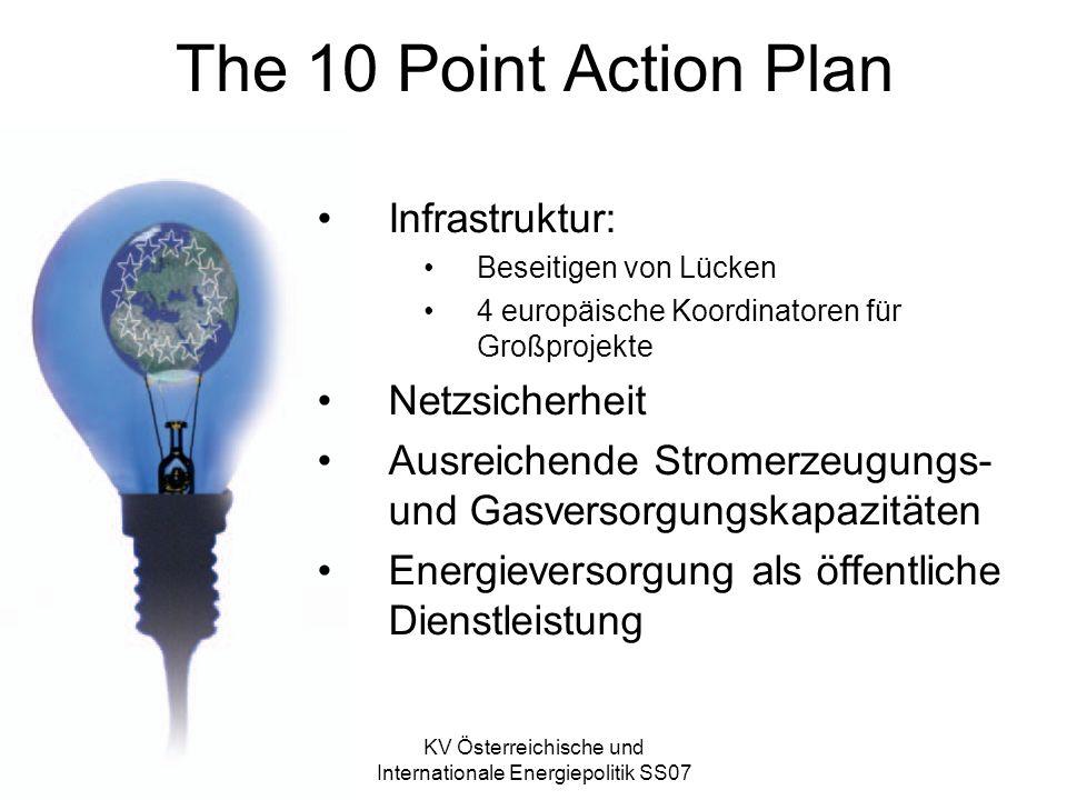 KV Österreichische und Internationale Energiepolitik SS07 The 10 Point Action Plan Infrastruktur: Beseitigen von Lücken 4 europäische Koordinatoren für Großprojekte Netzsicherheit Ausreichende Stromerzeugungs- und Gasversorgungskapazitäten Energieversorgung als öffentliche Dienstleistung