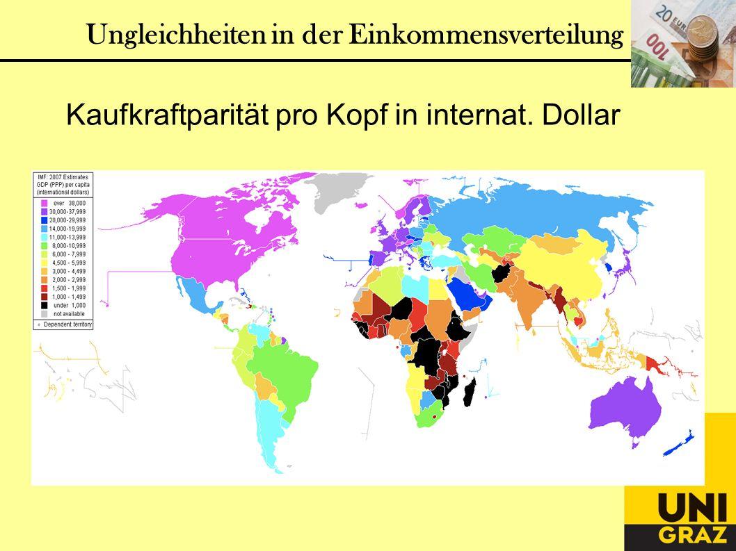 Ungleichheiten in der Einkommensverteilung Kaufkraftparität pro Kopf in internat. Dollar