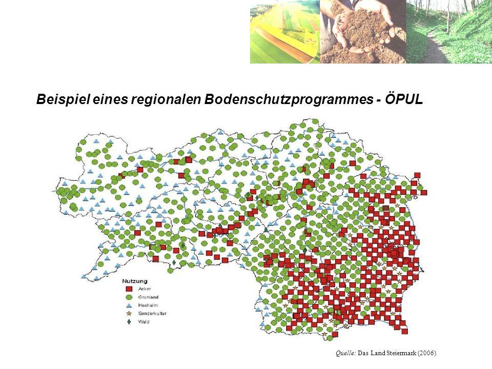 Beispiel eines regionalen Bodenschutzprogrammes - ÖPUL Quelle: Das Land Steiermark (2006)