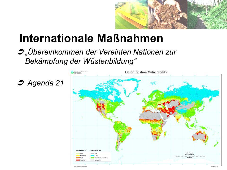 Internationale Maßnahmen Übereinkommen der Vereinten Nationen zur Bekämpfung der Wüstenbildung Agenda 21