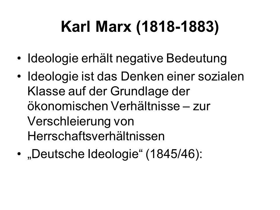 Karl Marx (1818-1883) Ideologie erhält negative Bedeutung Ideologie ist das Denken einer sozialen Klasse auf der Grundlage der ökonomischen Verhältnis