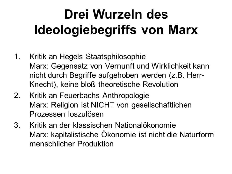 Drei Wurzeln des Ideologiebegriffs von Marx 1.Kritik an Hegels Staatsphilosophie Marx: Gegensatz von Vernunft und Wirklichkeit kann nicht durch Begrif