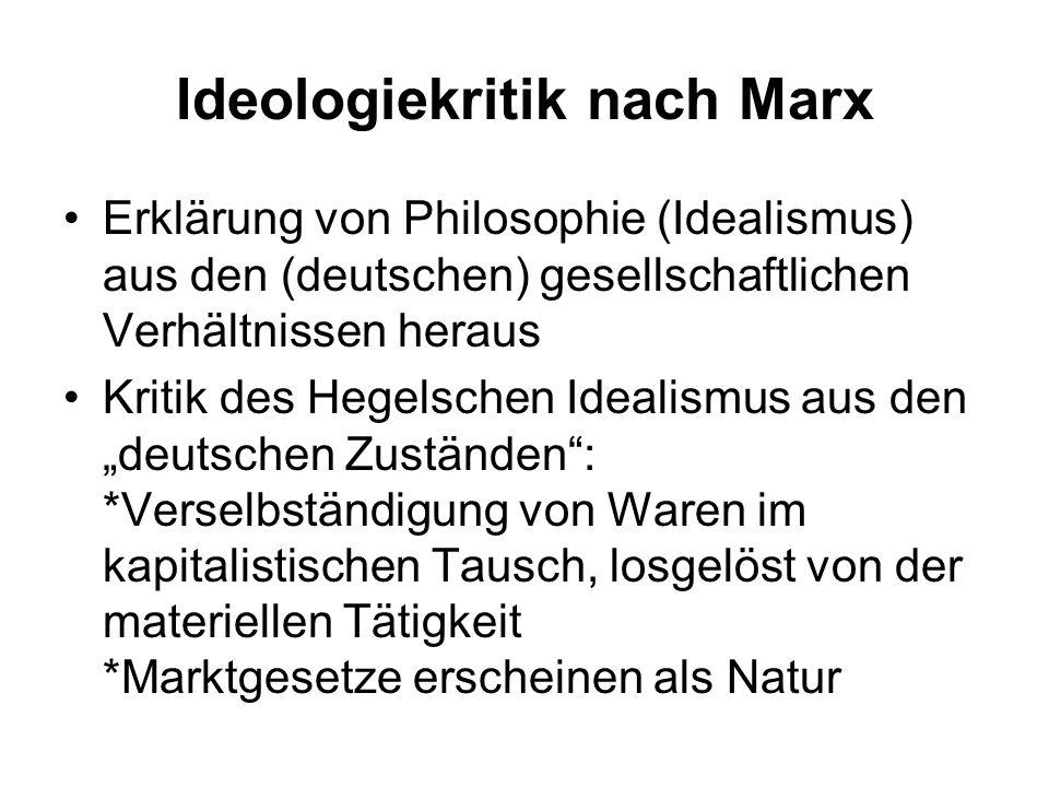 Ideologiekritik nach Marx Erklärung von Philosophie (Idealismus) aus den (deutschen) gesellschaftlichen Verhältnissen heraus Kritik des Hegelschen Ide