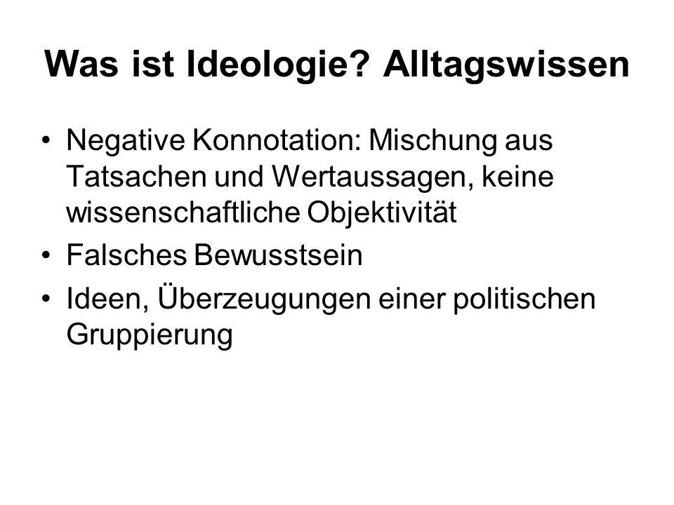 Karl Marx (1818-1883) Ideologie erhält negative Bedeutung Ideologie ist das Denken einer sozialen Klasse auf der Grundlage der ökonomischen Verhältnisse – zur Verschleierung von Herrschaftsverhältnissen Deutsche Ideologie (1845/46):