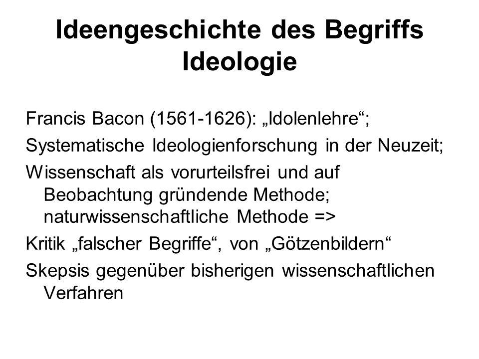 Karl Marx Ideologie als falsches Bewusstsein: Bewusstseinsformen, Wissen, das der ökonomischen Realität nicht entspricht Ziel von Ideologie: ökonomische Realität verschleiern, um die Macht der herrschenden Klasse zu stützen Beispiel: Religion