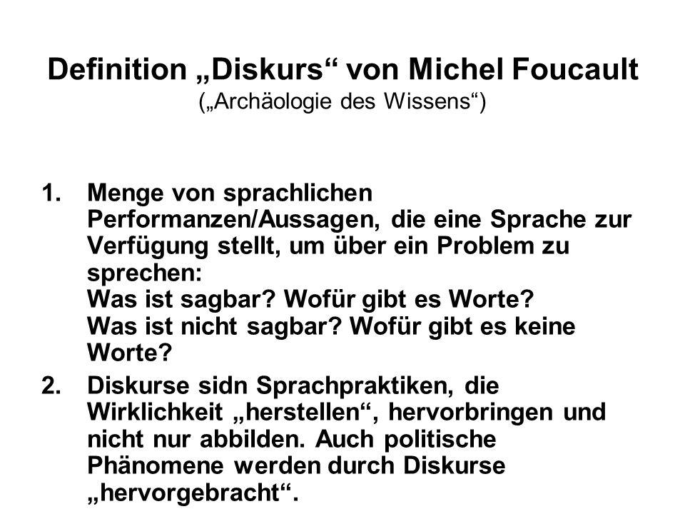 Definition Diskurs von Michel Foucault (Archäologie des Wissens) 1.Menge von sprachlichen Performanzen/Aussagen, die eine Sprache zur Verfügung stellt