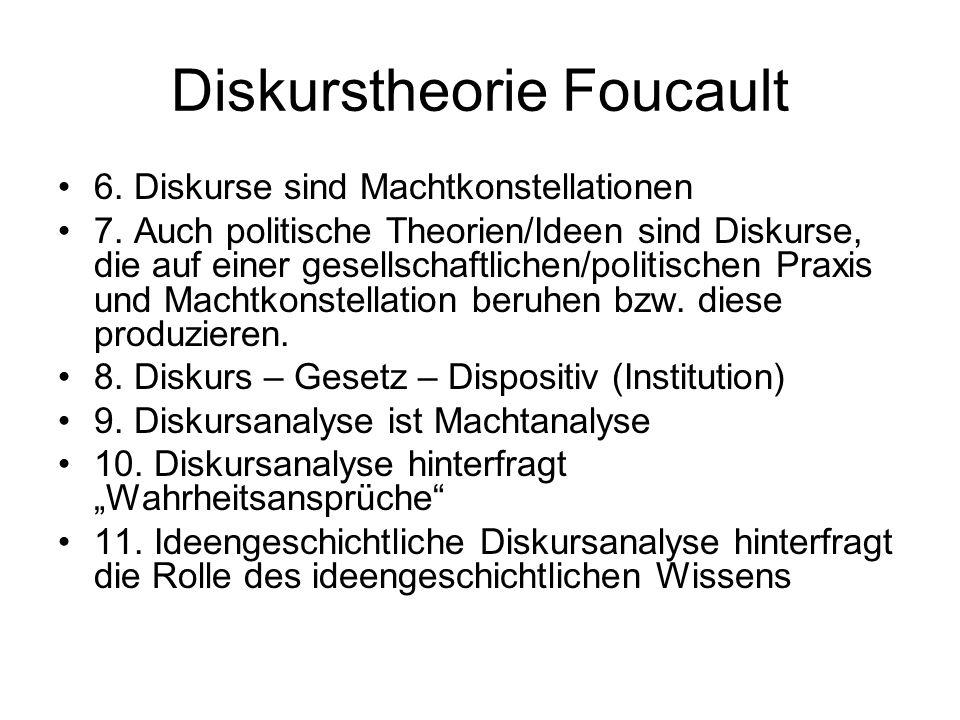 Diskurstheorie Foucault 6. Diskurse sind Machtkonstellationen 7. Auch politische Theorien/Ideen sind Diskurse, die auf einer gesellschaftlichen/politi