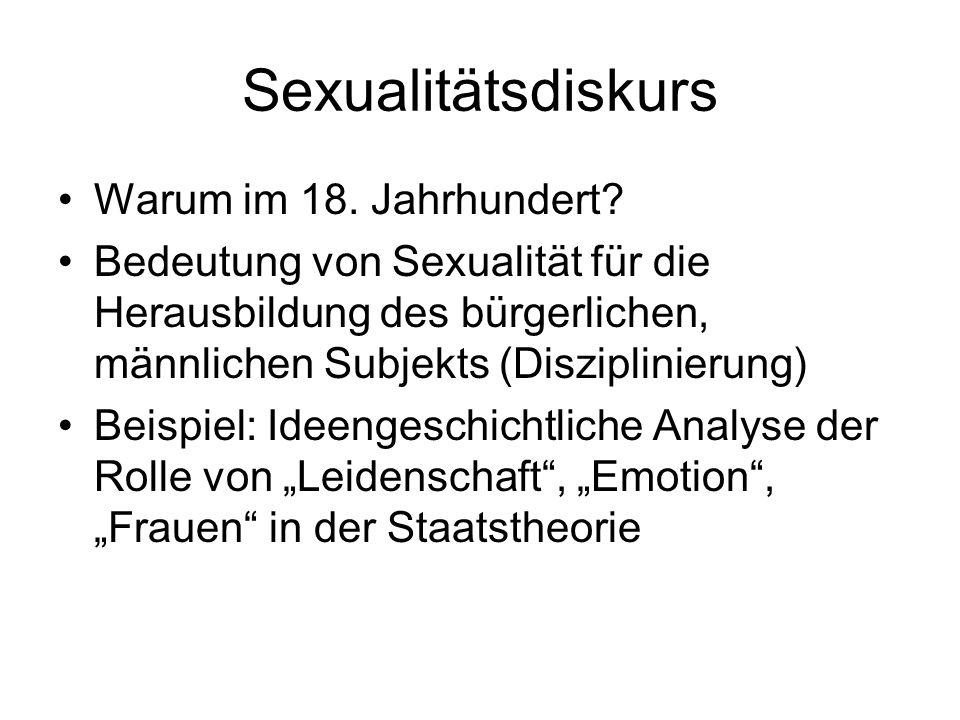 Sexualitätsdiskurs Warum im 18. Jahrhundert? Bedeutung von Sexualität für die Herausbildung des bürgerlichen, männlichen Subjekts (Disziplinierung) Be