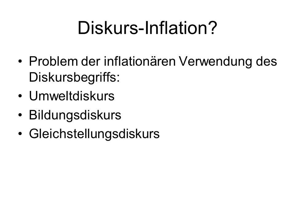 Diskurs-Inflation? Problem der inflationären Verwendung des Diskursbegriffs: Umweltdiskurs Bildungsdiskurs Gleichstellungsdiskurs