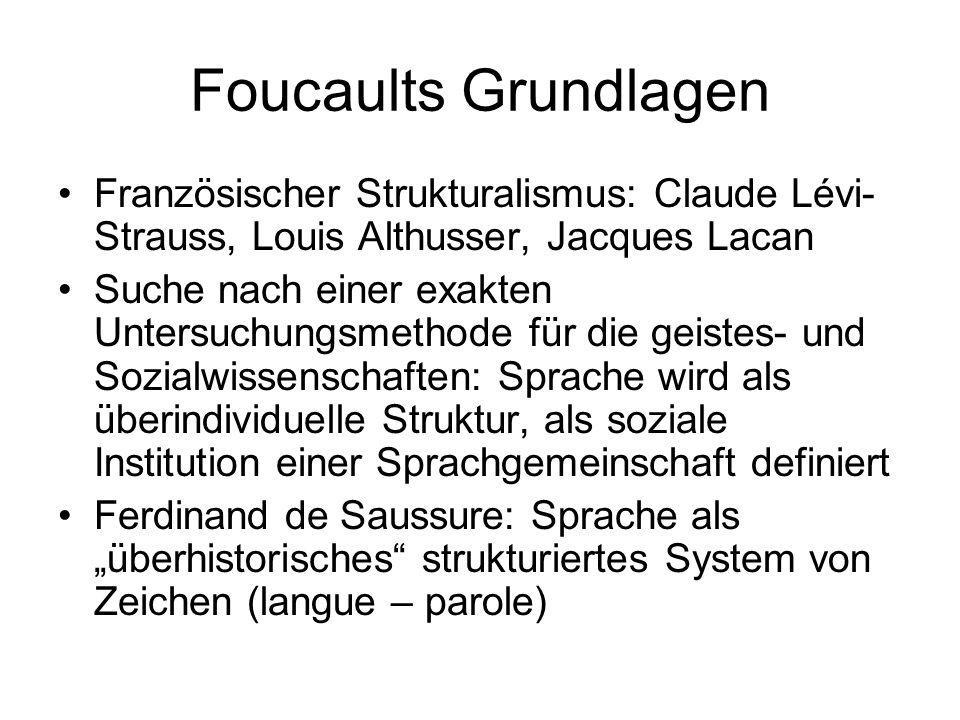 Foucaults Grundlagen Französischer Strukturalismus: Claude Lévi- Strauss, Louis Althusser, Jacques Lacan Suche nach einer exakten Untersuchungsmethode
