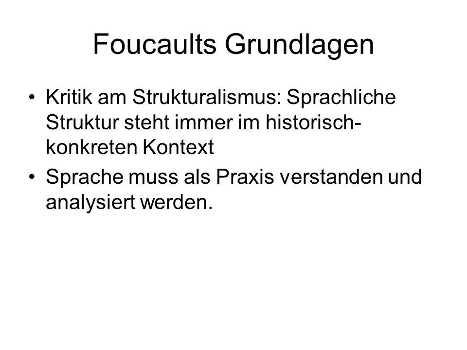 Foucaults Grundlagen Kritik am Strukturalismus: Sprachliche Struktur steht immer im historisch- konkreten Kontext Sprache muss als Praxis verstanden u