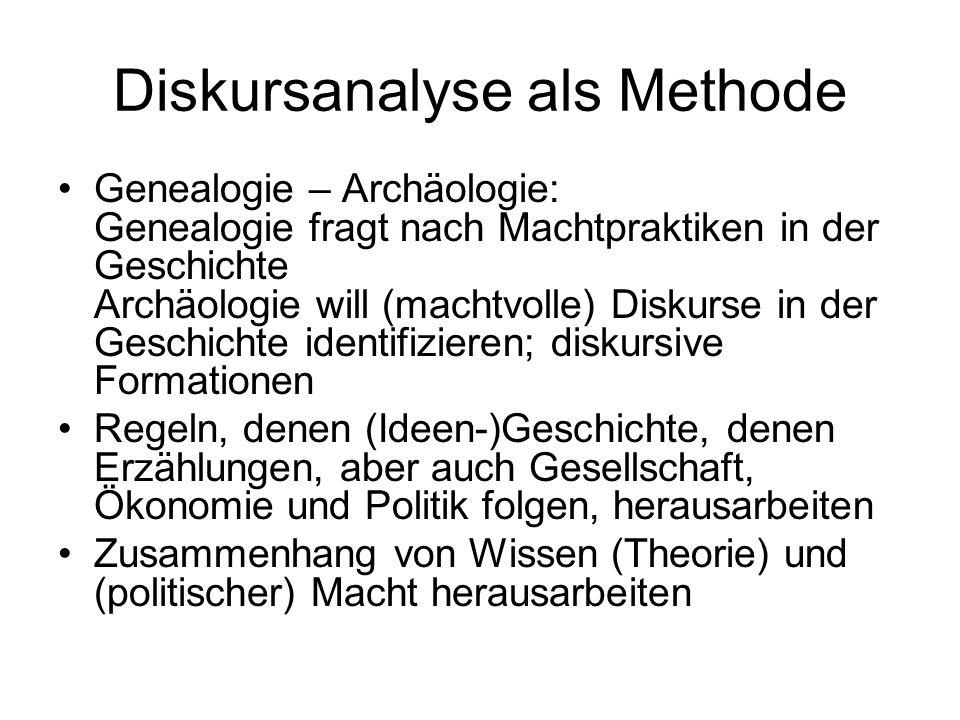 Diskursanalyse als Methode Genealogie – Archäologie: Genealogie fragt nach Machtpraktiken in der Geschichte Archäologie will (machtvolle) Diskurse in