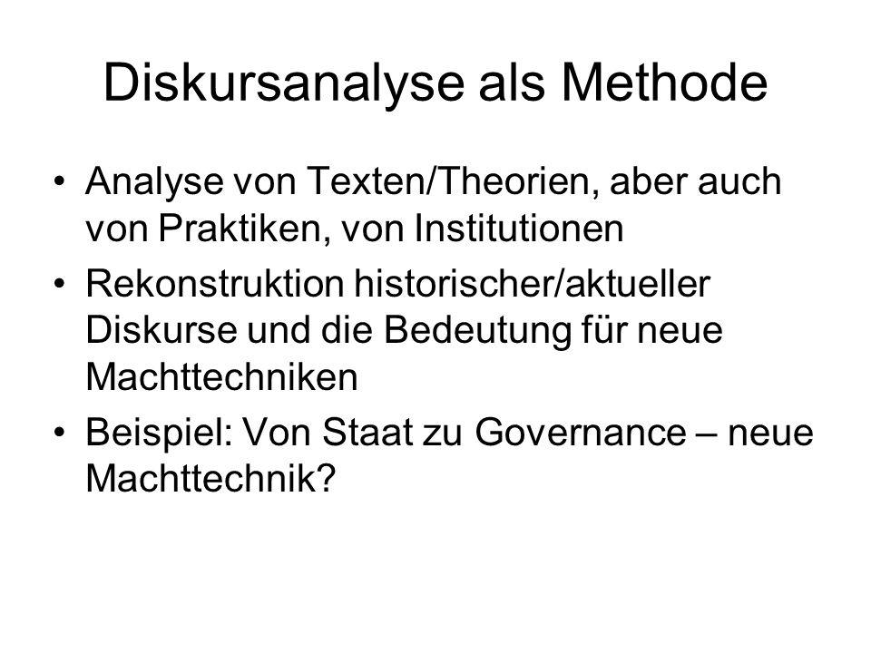 Diskursanalyse als Methode Analyse von Texten/Theorien, aber auch von Praktiken, von Institutionen Rekonstruktion historischer/aktueller Diskurse und